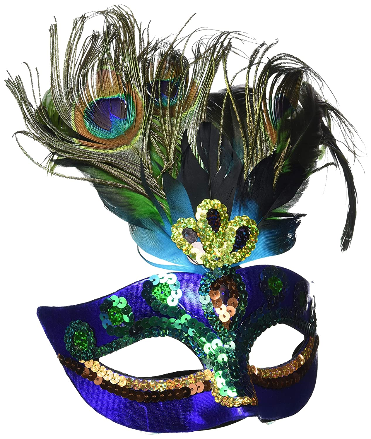 Amazon.com: AMSCAN Peacock Feather Masquerade Mask Halloween Costume  Accessories, One Size: Toys & Games