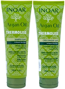 INOAR PROFESSIONAL - Argan Oil Thermoliss Shampoo & Conditioner - Nourish and Repair Damaged and Dry Hair (8.05 oz)