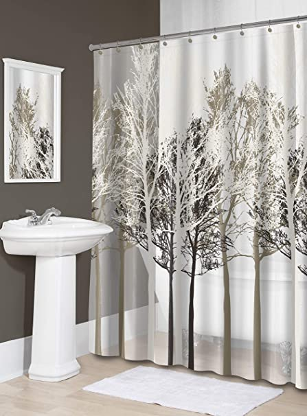 Splash Home Peva 5G Forest Shower Curtain Liner Design For Bathroom Showers Bathtubs Free