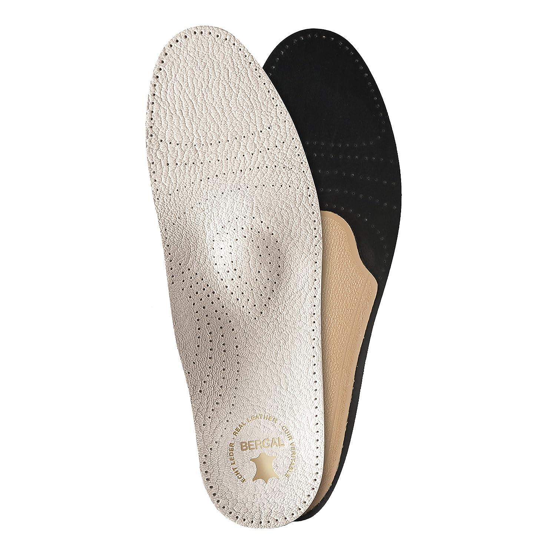 36-48 3 Paar Bergal Luxus Leder Fußbett orthopädische Einlagen Sohlen weiss Gr