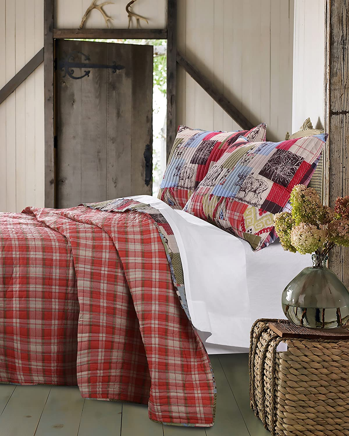 amazoncom greenland home 3 piece rustic lodge quilt set king home u0026 kitchen - Greenland Home Fashions