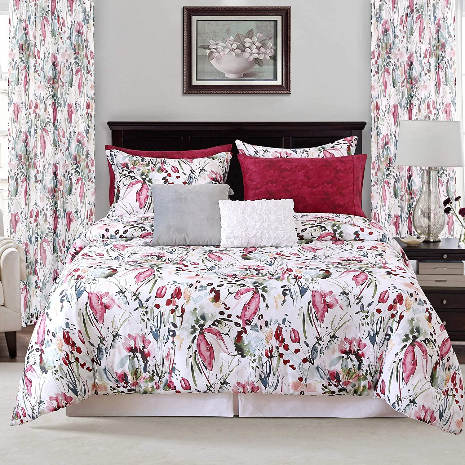 Sara B. Rhapsody Comforter Set Twin Red