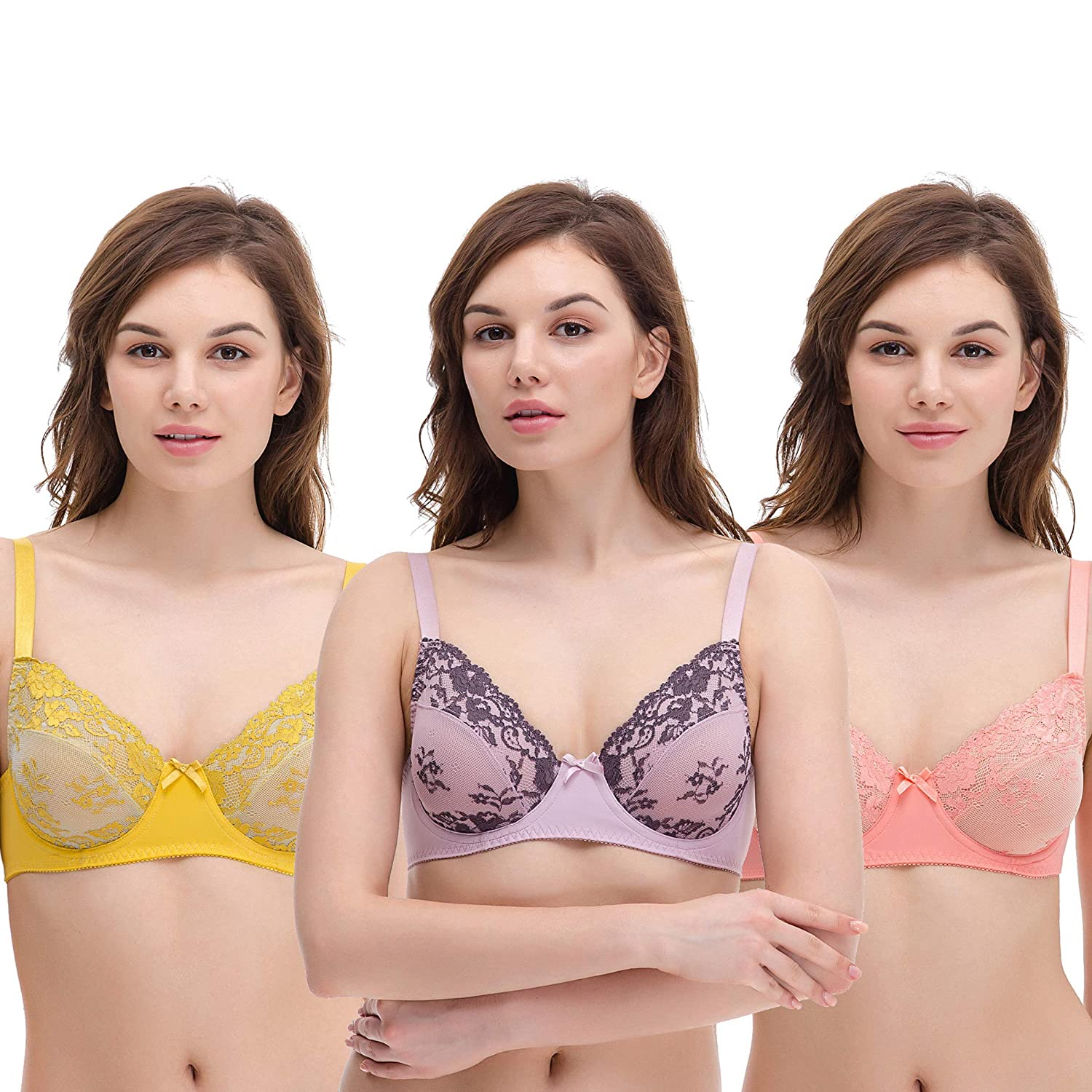a74edccb5 Our 3 pack of bras comes in 3 different and are made of 88% nylon 12%  spandex for the most soft