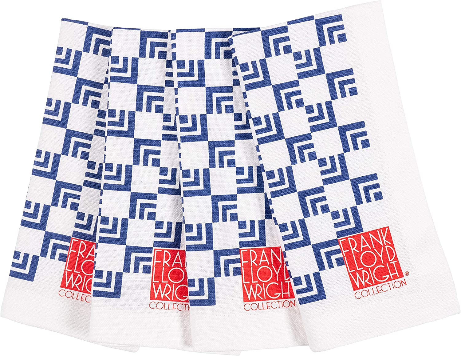 KAF Home Frank Lloyd Wright Printed Dinner Napkin 20 x 20-inch 100-Percent Cotton Set of 4 (Nested Squares)