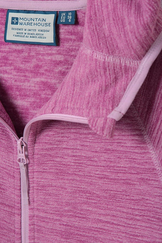 Durable Fleece Breathable Antipill Ladies Autumn Coat Full Zip Mountain Warehouse Lleyn Melange Womens Fleece Jacket Walking /& Everyday Use Dark Pink 6 for Travelling