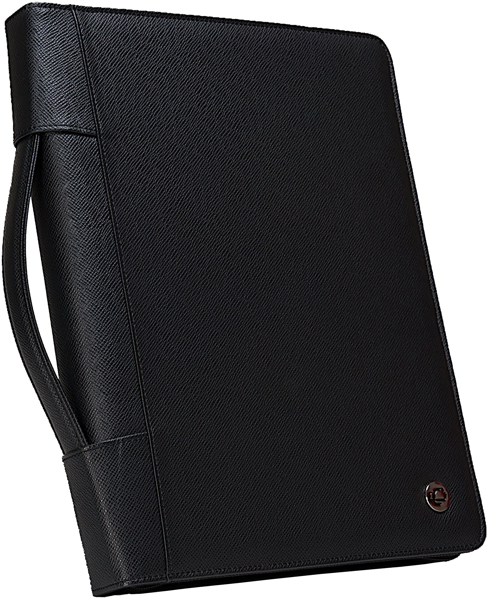 Case-it Executive Zippered Padfolio with Removable 3-Ring Binder and Letter Size Writing Pad, Black, PAD-40