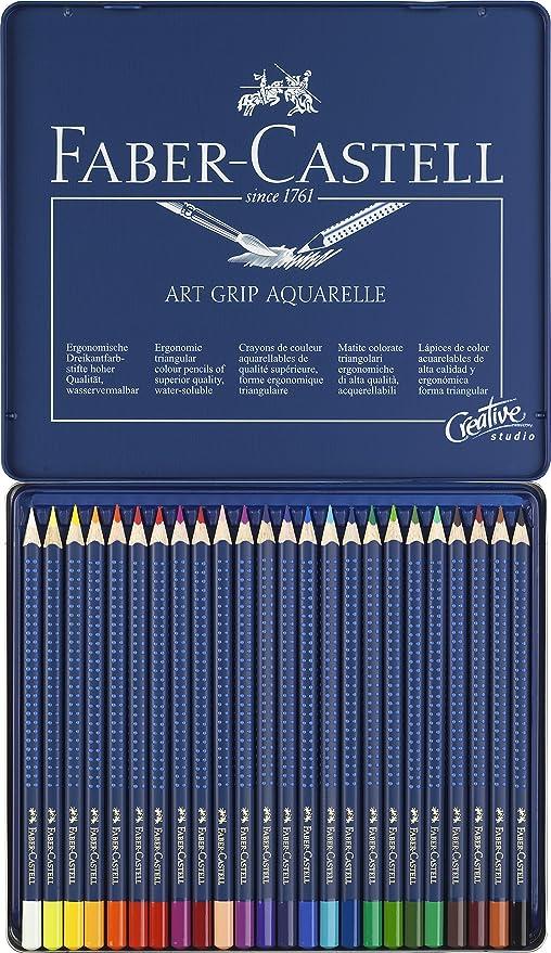Tin of 24 Faber Castell Art Grip Aquarelle Watercolor Pencil Set