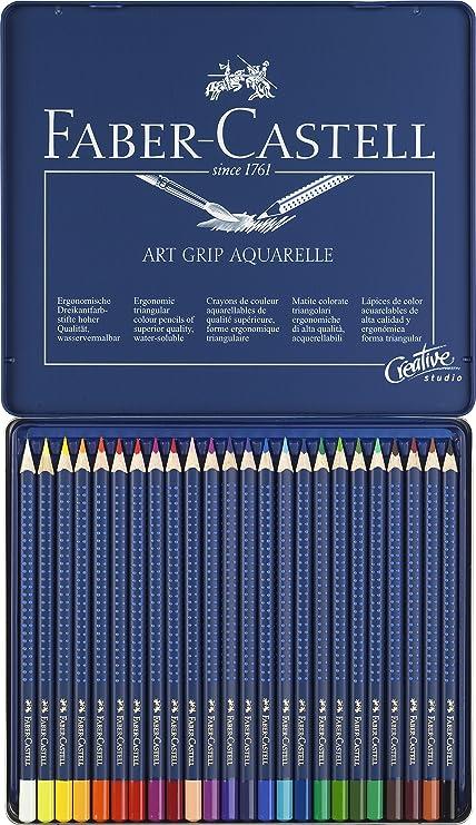 b39f66aa7423a6 Faber-Castell 114224 Crayon ART GRIP AQUARELLE boîte métal de 24