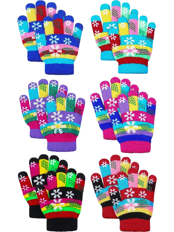 SATINIOR 6 Paar Kinder Bunte Schneeflocke Drucken Handschuhe Warme Winter Strickhandschuhe