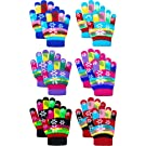 6 Pairs Kids Magic Stretchy Snowflake Print Gloves Warm Winter Knitted Mittens