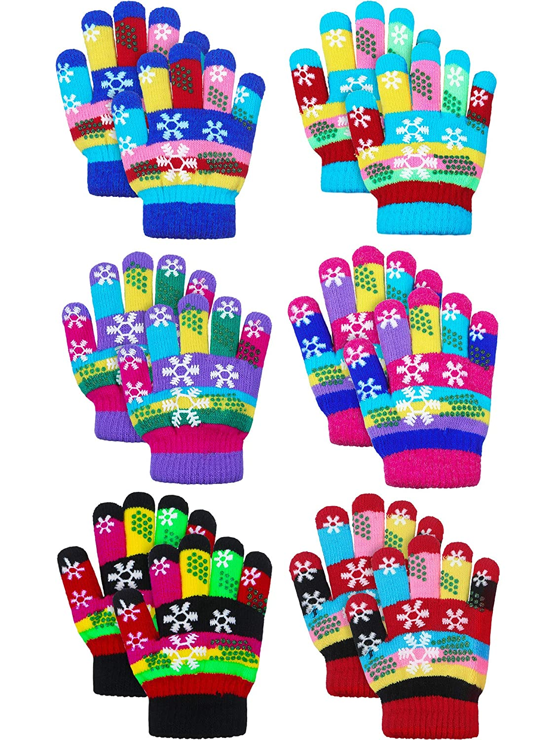 6 Pairs Toddler Magic Stretch Mittens Winter Unisex Baby Knitted Gloves Mittens
