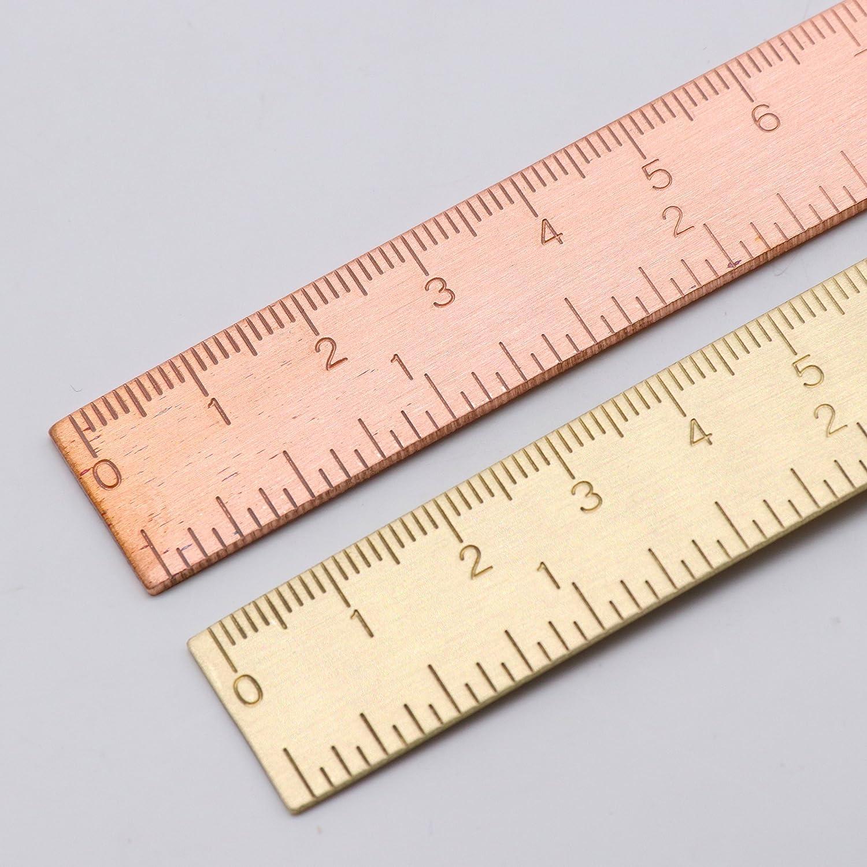 6-Zoll-Messing Architekt Skala Lineal praktisch gerade Lineal Metall Kupfer Lesezeichen-haltbares winziges Gold Lineal