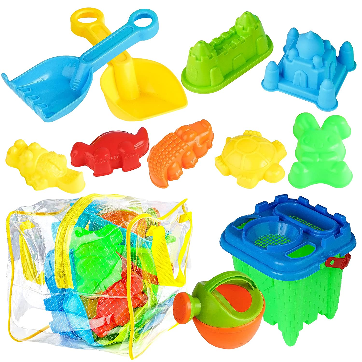 13 Pack Beach Toy Set - Ideal for a Day at The Beach - Includes Mesh Bag & Strong PVC Bag Bramble