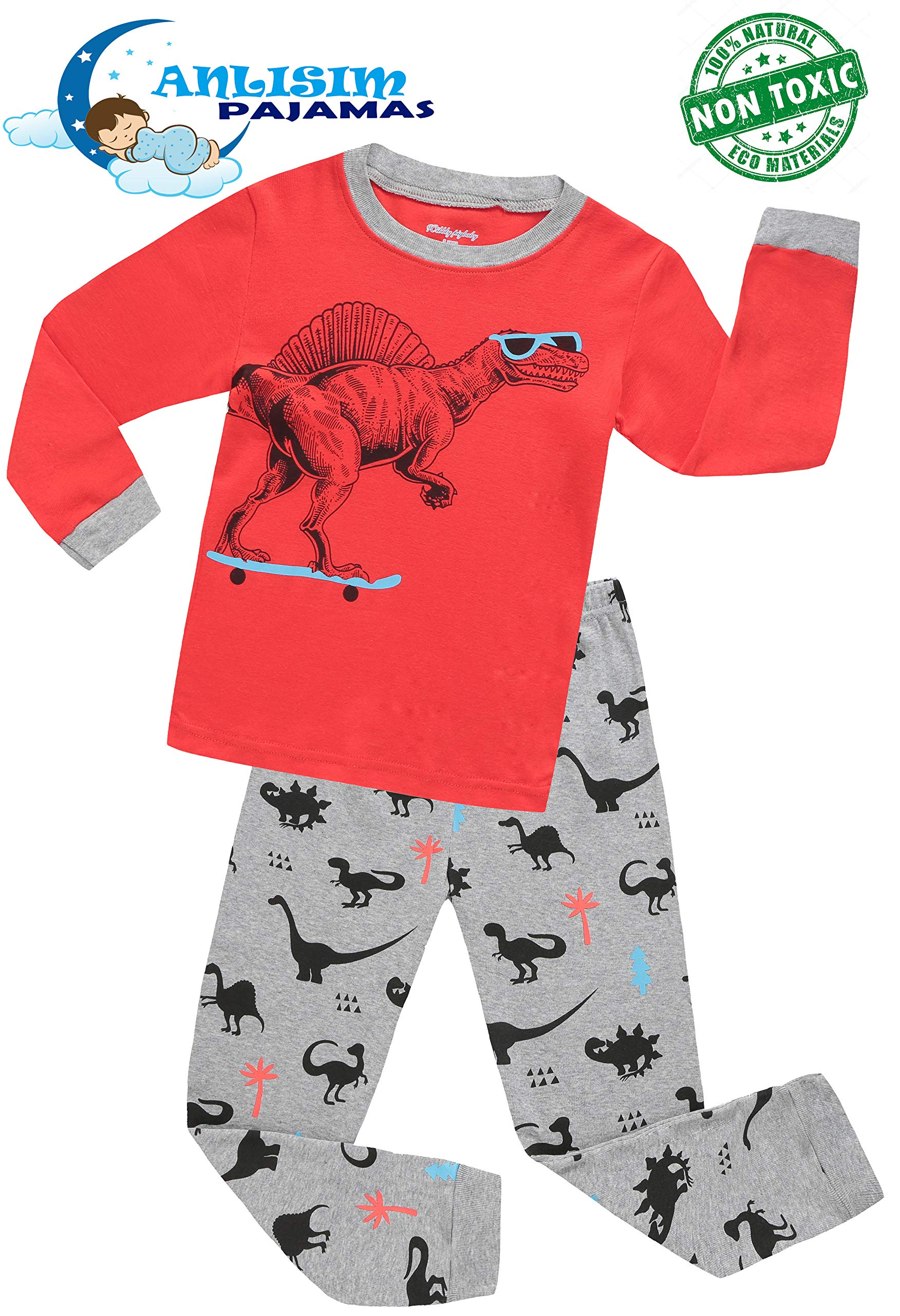 ANLISIM Kids Little Boys Girls Cute Sunglass Dinosaur Pajamas Set Cotton Toddler Clothes Pjs Children Sleepwear (Dinosaur (Red), 4T)