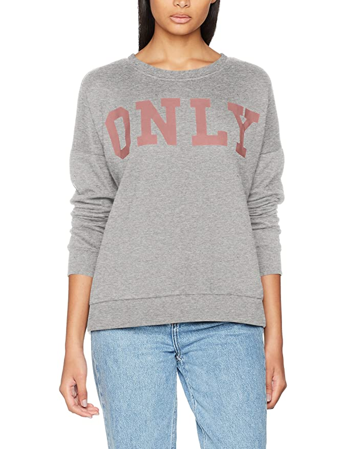 Only Onlbette Logo Zip Hood Ls Swt, Sudadera para Mujer, Gris (Light Grey Melange Print:Black), 42 (Talla del fabricante: X-Large)