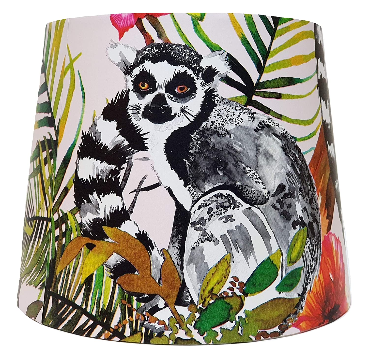 Tropical Lemur Table Lampshade or Ceiling Light Shade Jungle Animals Botanical Bedroom Accessories Gifts Masoala Pink