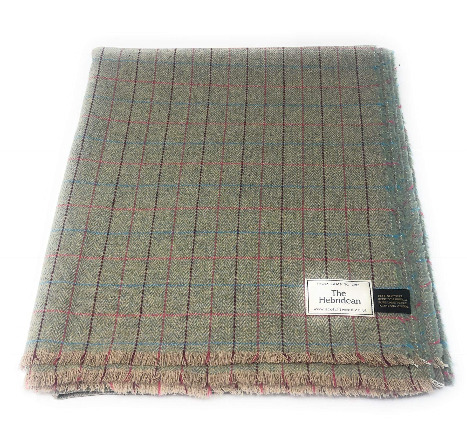 Pure Wool Tweed Blanket/Bedspread/Throw Green Pink Herringbone and Windowpane