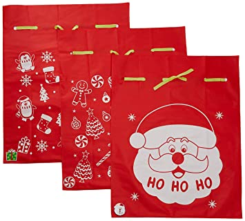 Amazon 6 giant christmas gift bags 36 x 44 reusable made of 6 giant christmas gift bags 36quot x 44quot reusable made of durable fabric with negle Images