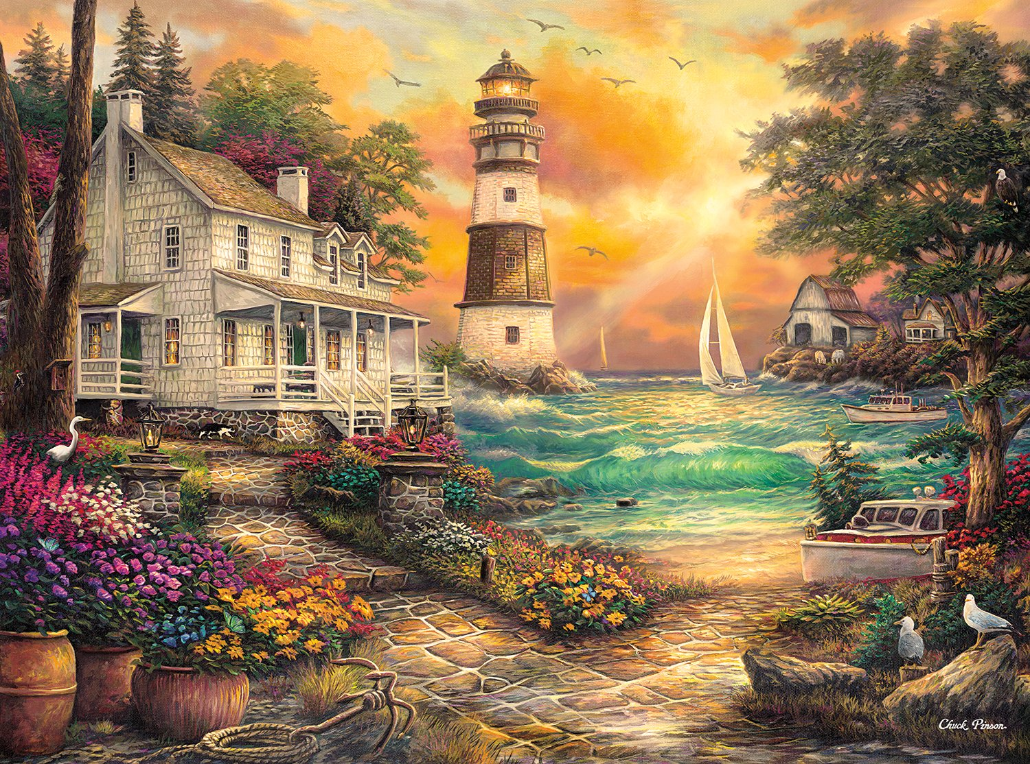 Buffalo Games - Chuck Pinson - Cottage By The Sea - 1000 Piece Jigsaw Puzzle 91p-wyQlmNL