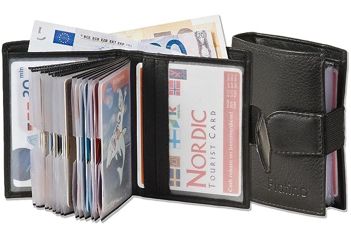 Platino - Monedero Super-compacto con XXL tarjeteros para tarjetas de 16 hechos de cuero natural con negro