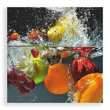 Artland Qualitätsbilder I Glasbild Küche Wandbild Deko Glas Bilder Größe  50x50 cm Genuss Obst Foto Bunt D1GJ Frisches Obst im Wasser