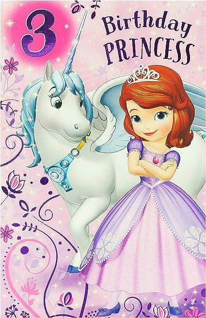 Carte D Anniversaire 3 Ans Carte D Anniversaire Pour 3 Ans Carte D Anniversaire Disney Princesse Sofia Amazon Fr Fournitures De Bureau