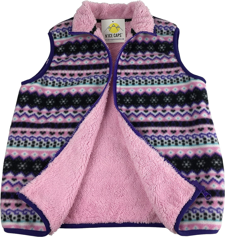 NIce Little Girls and Baby Sherpa Lined Fairisle Fleece Outerwear Winter Vest