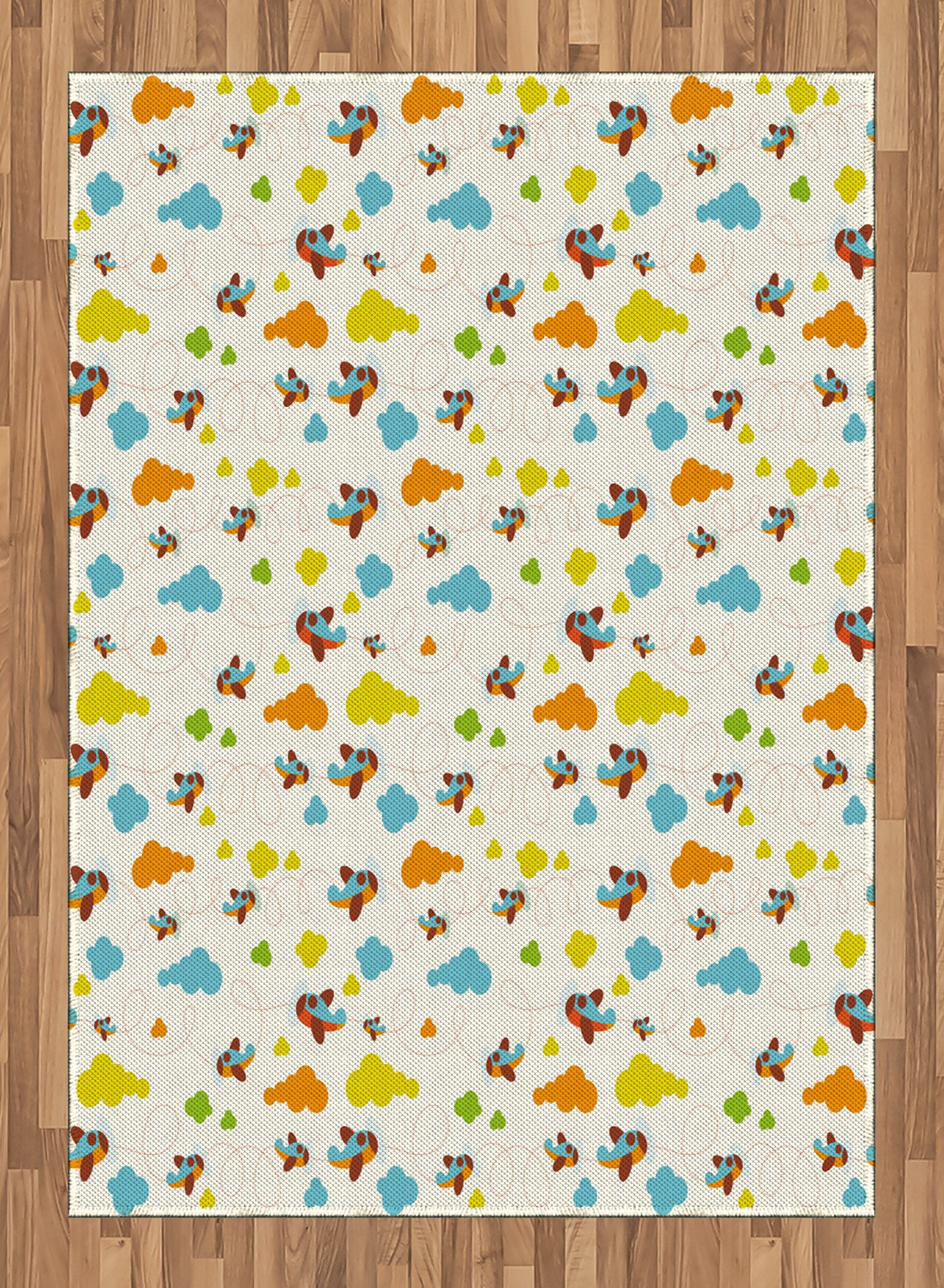 Boy's Room Area Rug by Lunarable, Flying Airplanes with a Cute Cartoon Style Fun Clouds in Various Colors, Flat Woven Accent Rug for Living Room Bedroom Dining Room, 5.2 x 7.5 FT, Blue Dark Orange