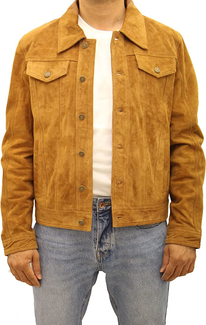 Mens Brown Soft Suede Leather Denim Style Western Trucker Summer Native Jacket