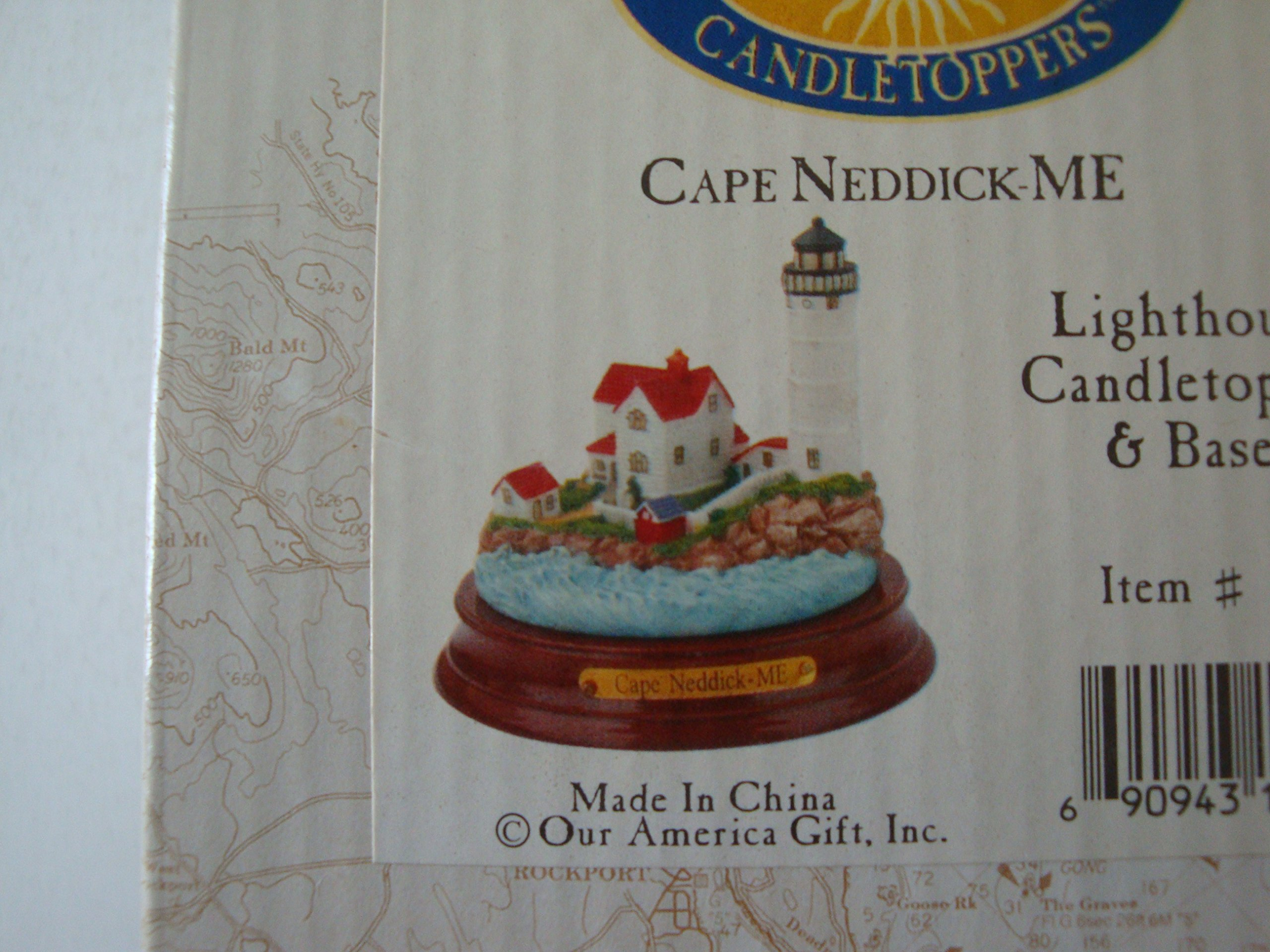 Our America Lighthouse Collection Candletopper and Base Cape Neddick Me