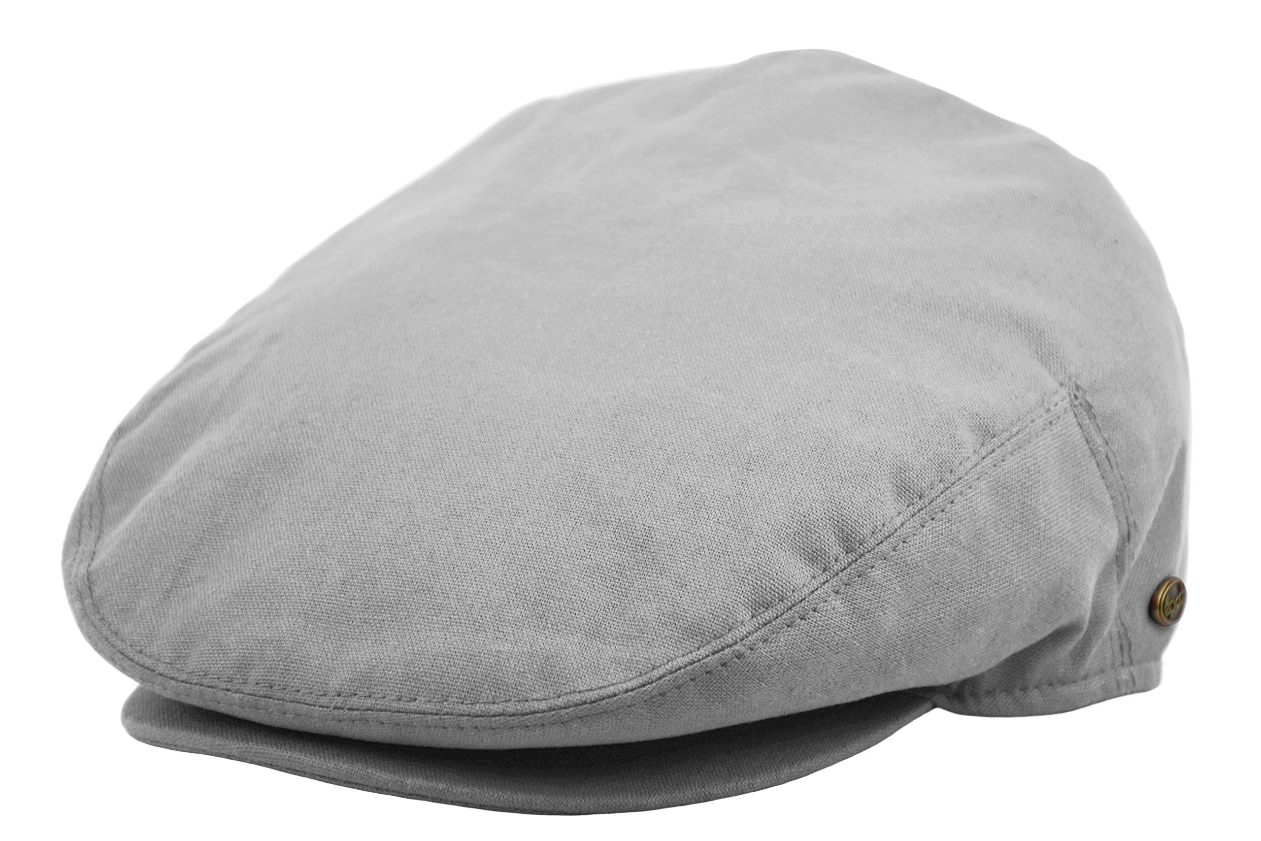 Plain Cotton IVY Summer newsboy Cap Driving Cabbie Flat Cap Snap Brim (X-Large, Light Gray)