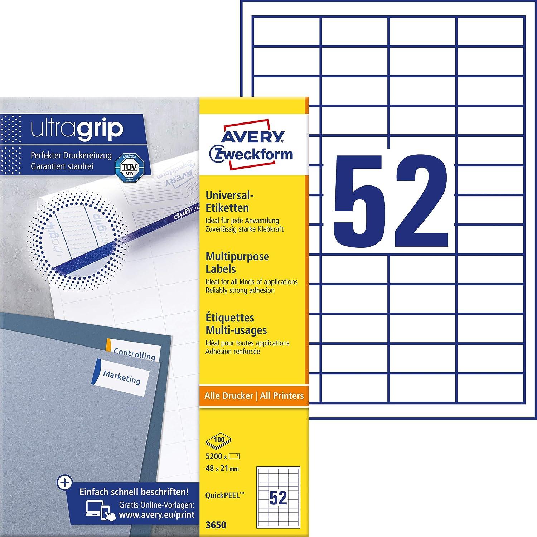 Avery Zweckform 3650 Universal Etiketten Mit Ultragrip 48 X 21 Mm Auf Din A4 Papier Matt Bedruckbar Selbstklebend 5 200 Klebeetiketten Auf 100