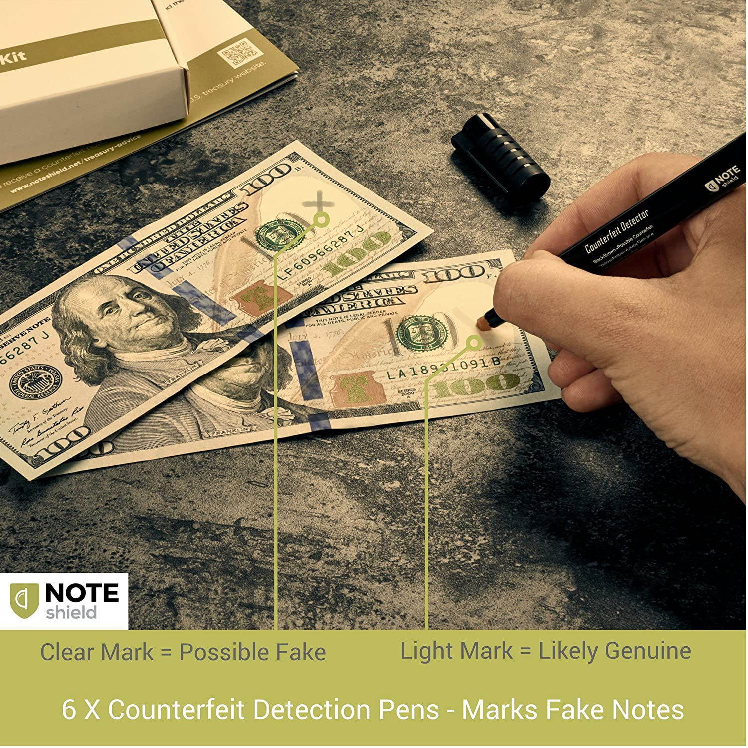 amazoncom noteshield counterfeit bill detector kit counterfeit money loss prevention small business security dollar tester set 6 x counterfeit