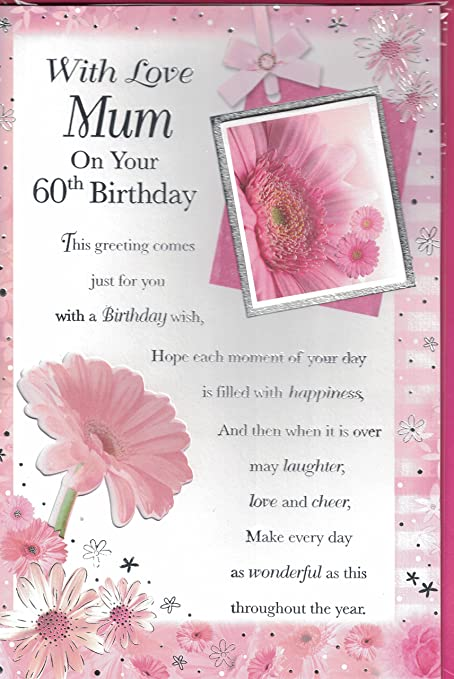 Mum 60th birthday card with love mum on your 60th birthday mum 60th birthday card with love mum on your 60th birthday traditional flower design bookmarktalkfo Choice Image