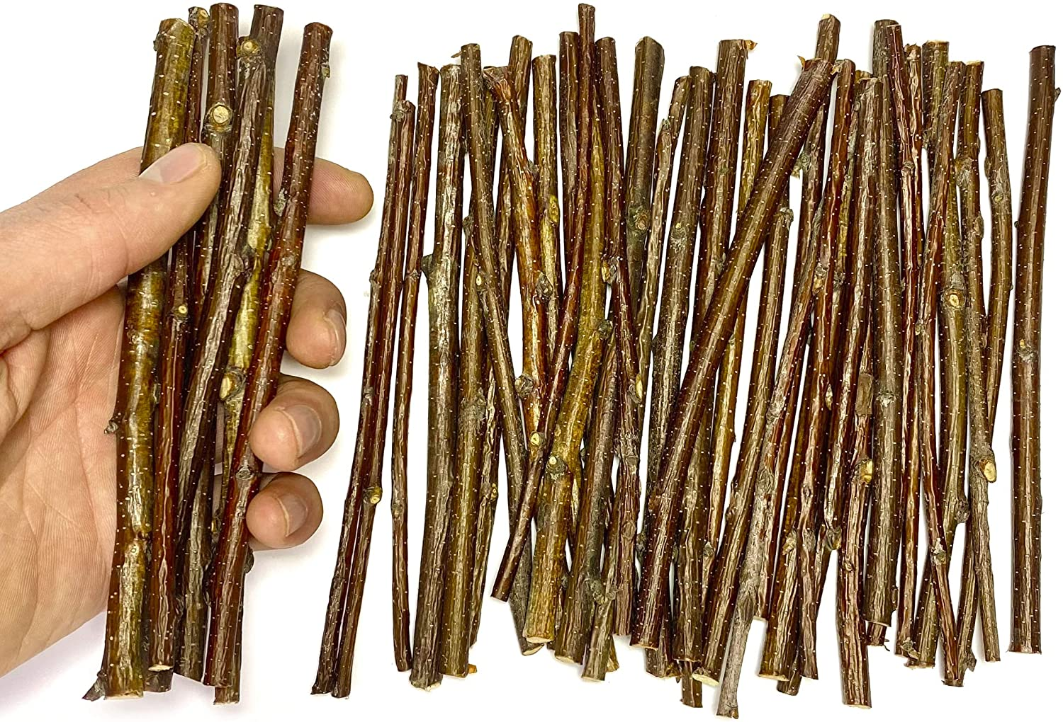 Ecovenik Wood Sticks for Crafts - 6 Inch Birch Wood Craft Sticks - Natural Twigs Sticks for Crafting, DIY School Projects, Card Making, Embellishments & Photo Props (40Pcs)