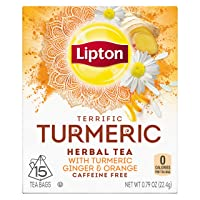 Lipton Herbal Tea Bags, Terrific Turmeric, 15 ct