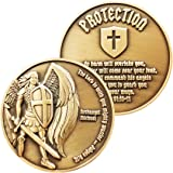 Archangel Saint Michael, Antique Gold Plated Challenge Protection Coin, The Lord is with You Mighty Warrior, Judges 6:12 and