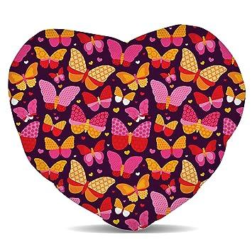 Amazon.com: Rosa mariposas forro polar – Cojín corazón ronda ...