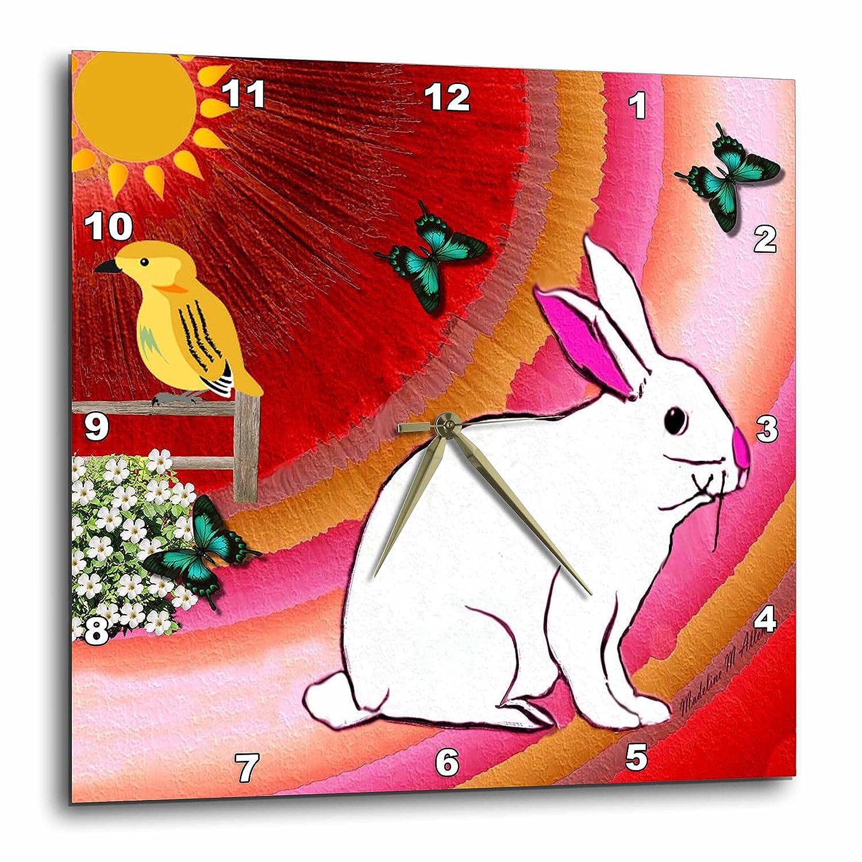 Sunny Bunny 10x10 Wall Clock 3dRose SmudgeArt Animal Designs dpp/_7149/_1