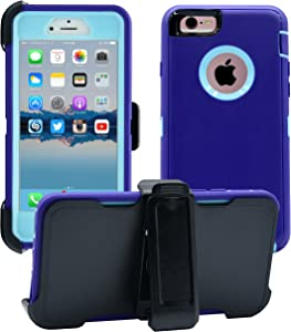 AlphaCell Cover Compatible with iPhone 6 / 6S (NOT Plus)   2-in-1 Screen Protector & Holster Case   Full Body Military Grade Protection with Carrying Belt Clip   Protective Drop-Proof Shock-Proof