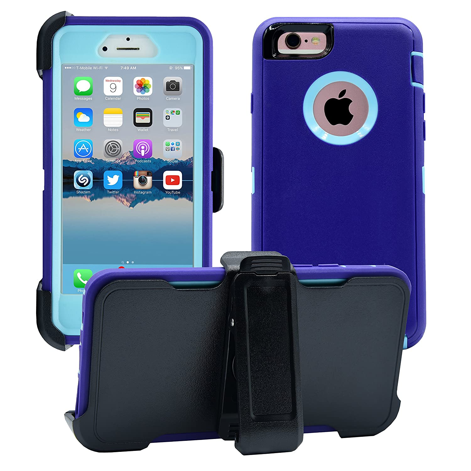 AlphaCell Cover Compatible with iPhone 6 / 6S (NOT Plus) | 2-in-1 Screen Protector & Holster Case | Full Body Military Grade Protection with Carrying Belt Clip | Protective Drop-Proof Shock-Proof 4334977252