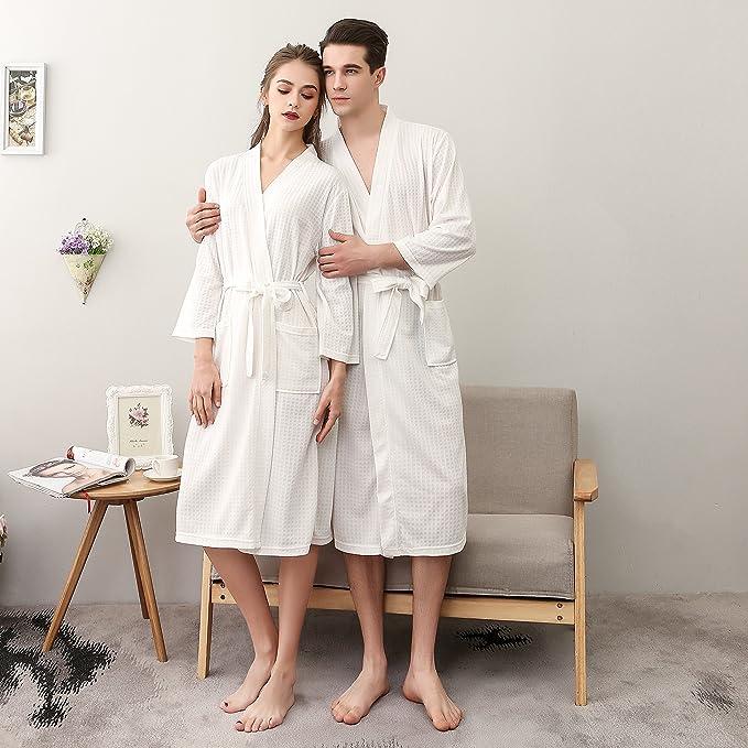 f5ca8595d9 Amazon.com  Yxp Women s Waffle Weave Kimono Spa Robe Unisex Bathrobe  Lightweight White