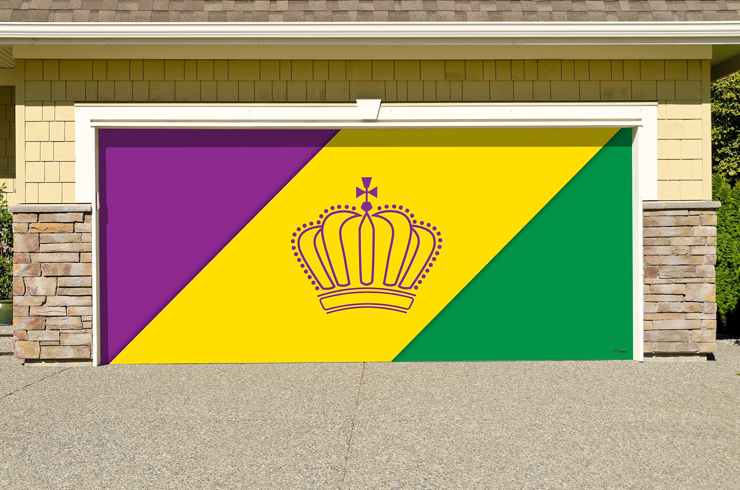 Outdoor Mardi Gras Decorations Garage Door Banner Cover Mural Décoration 7'x16' - Mardi Gras Diagonal Stripes - ''The Original Mardi Gras Supplies Holiday Garage Door Banner Decor''