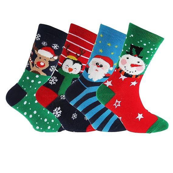 FLOSO - 4 pares de calcetines infantiles con diseño navideño (27-31 EU/