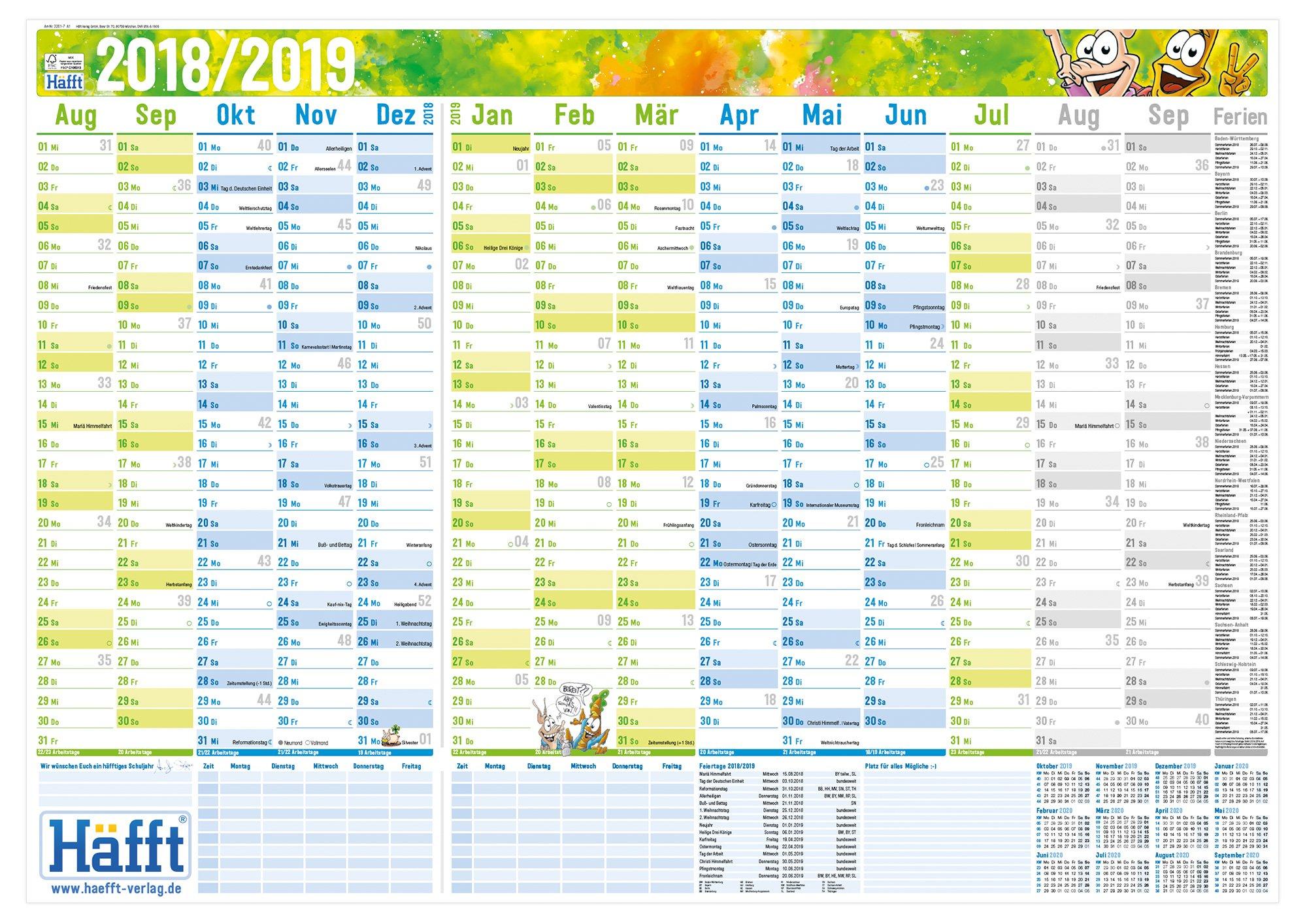 Häfft Wandkalender Schuljahr 2018/2019 89x63cm (größer als A1), gefalzt, Schuljahreskalender 14 Monate Aug 2018 - Sep 2019, 2 Stundenpläne, Ferientermine, mit Extra A4-Übersicht