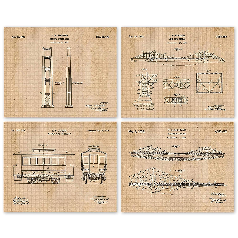Vintage San Francisco Golden Gate Bridge & Street Car Patent Poster Prints, Set of 4 (8x10) Unframed Photos, Wall Art Decor Gifts Under 20 for Home, Office, Garage, Man Cave, College Student, Fan