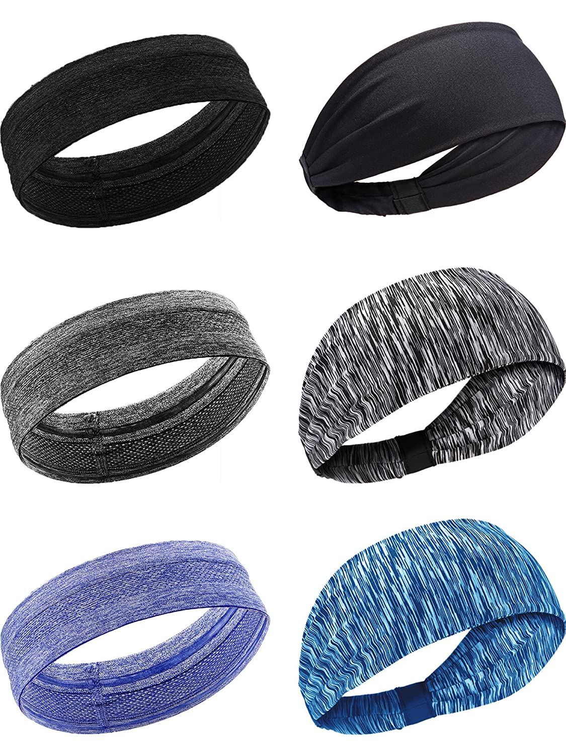 41f7853ee79c Bememo 6 Pieces 2 Styles Sports Headbands Non Slip Elastic Sweatband  Athletic Head Wear for Men and Women