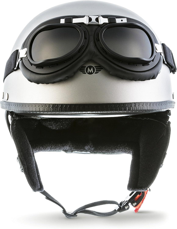 "57-58cm Moto Helmets/® D22-Set /""Titan Gray/"" /· Brain-Cap /· Halbschale Jet-Helm Motorrad-Helm Roller-Helm Scooter-Helm Bobber Mofa-Helm Chopper Retro Cruiser Vintage Pilot Biker Helmet Brille /· M"