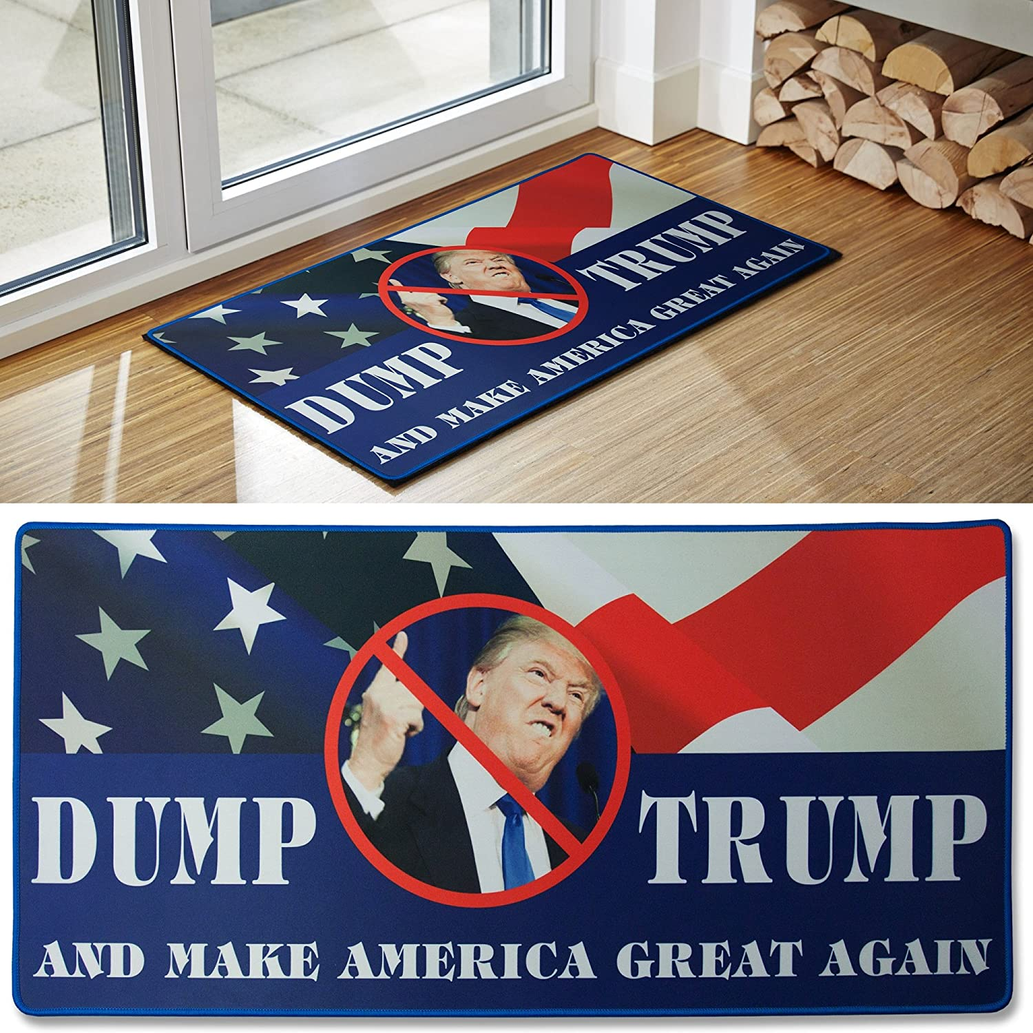 Donald trump novelty doormat includes free dump trump bumper sticker funny political gag gift for democrats republicans from the maker of the best