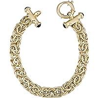 714dcc70b Kooljewelry 14k Yellow Gold Byzantine with Black Cabochon Bracelet, 7.5